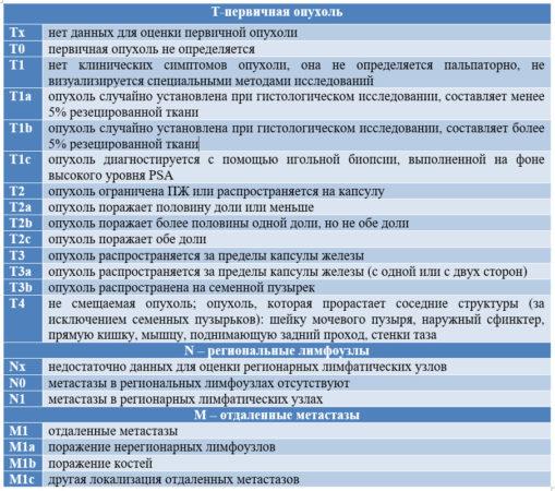 TNM-классификация рака предстательной железы