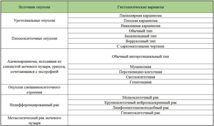 Классификация злокачественных опухолей мочевого пузыря на основании их гистологии